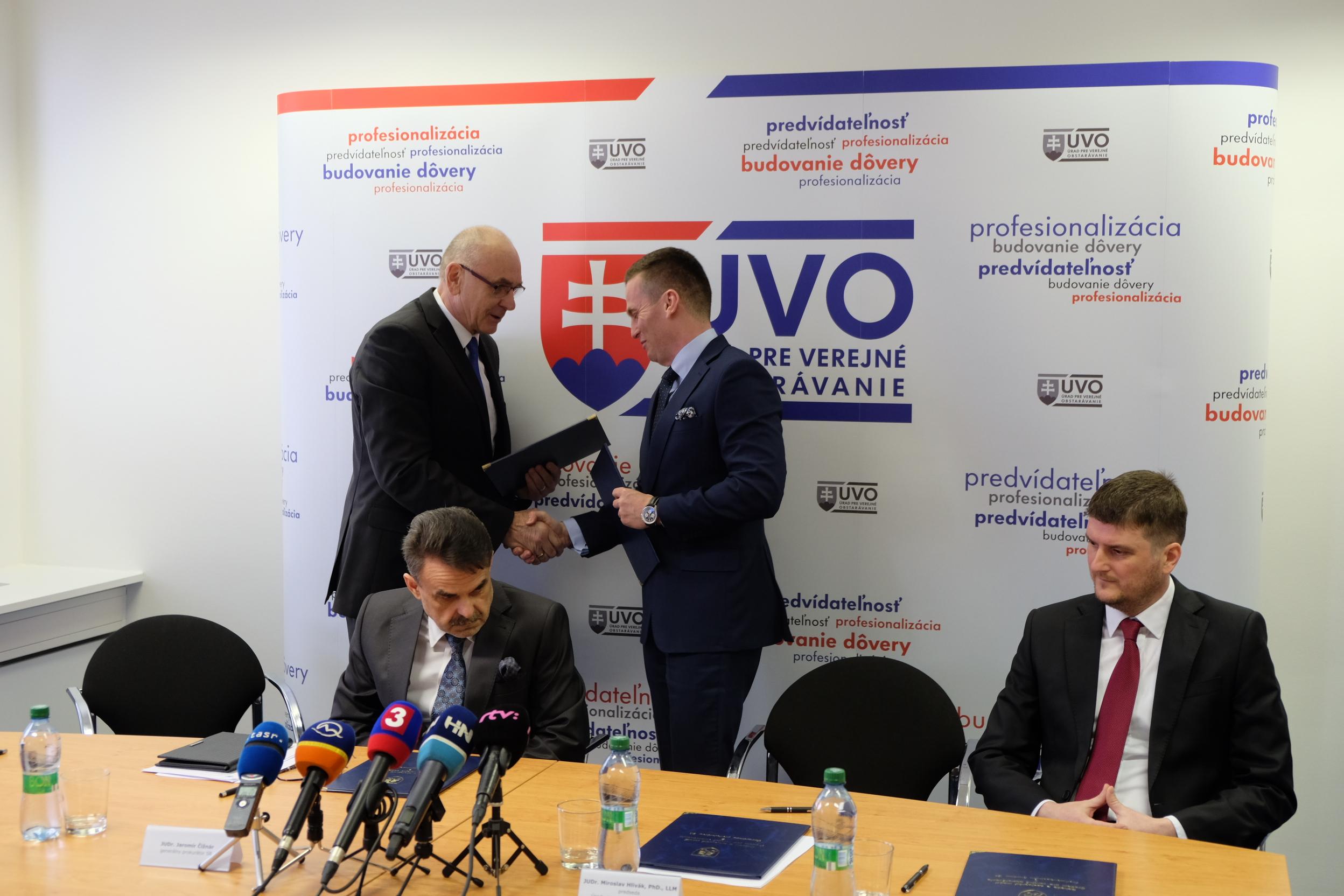 Predstavitelia GP, PMÚ, NKÚ podpísali s predsedom ÚVO dohody o spolupráci