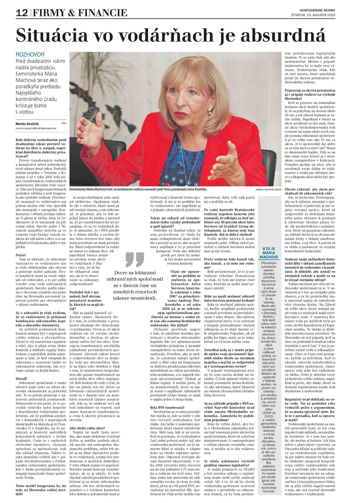 Rozhovor Hospodárske noviny, 13.8.2020 - M. Machová