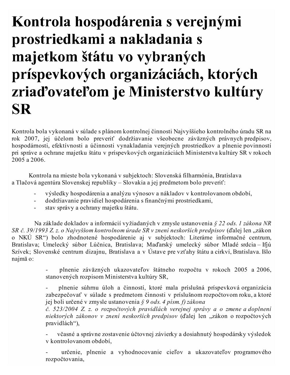 9df90b0de Správy o výsledkoch kontrol za rok 2009 - Najvyšší kontrolný úrad ...