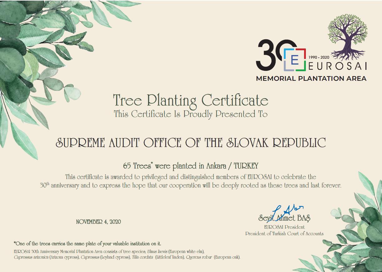 Certifikát stromu NKÚ SR